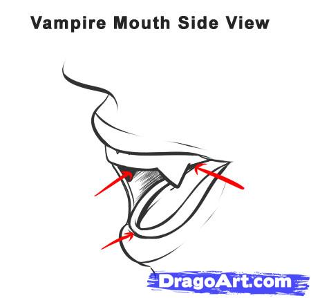 Drawn vampire mouth Draw vampire step Vampire How