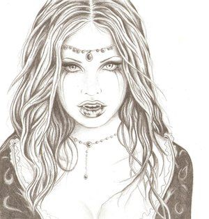 Drawn vampire outline Art images Women by 118
