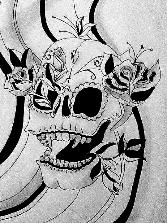 Drawn vampire outline With Skull Roses With Design