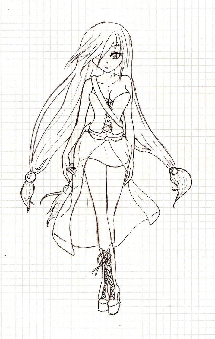 Drawn vampire outline Outlines Girl by Girl Anime