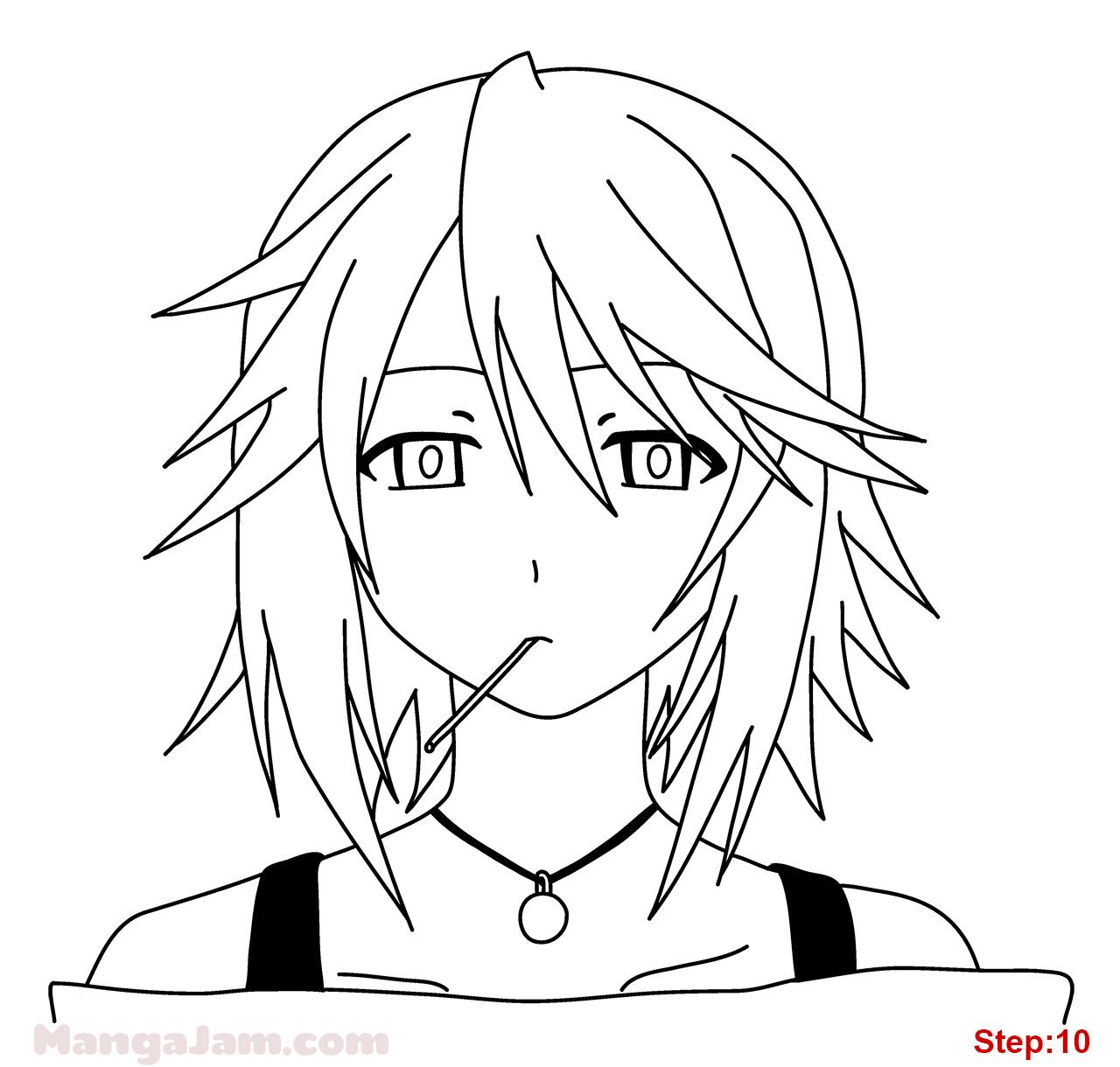 Drawn vampire outline Draw Mizore  Mizore step