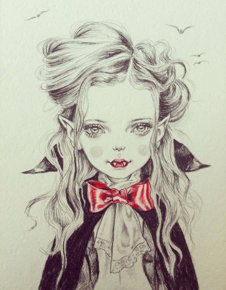 Drawn vampire pretty female Cute! Lol Pinterest Halloween about