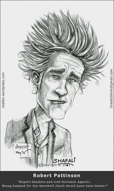 Drawn vampire robert pattinson Shafali's Pattinson Cartoon Portraits Cartoons