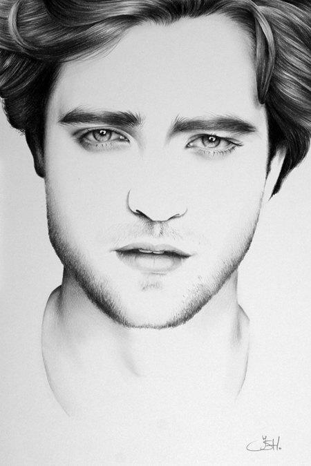 Drawn vampire robert pattinson Etsy Fine Pattinson Portrait Minimalism