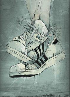 Drawn vans adidas shoe Watercolor! See Suede Anna blue