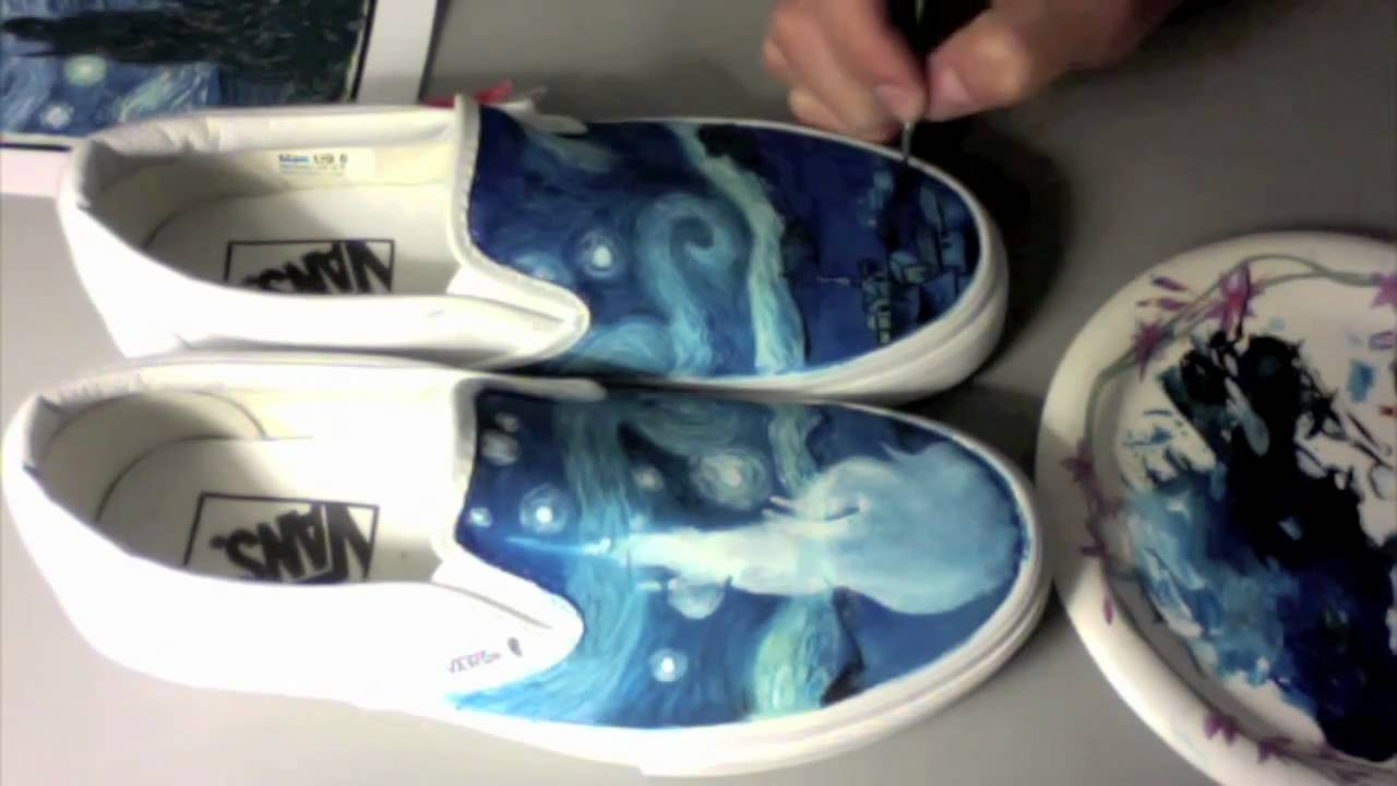 Drawn vans canvas shoe Shoes Vans  Night Painted