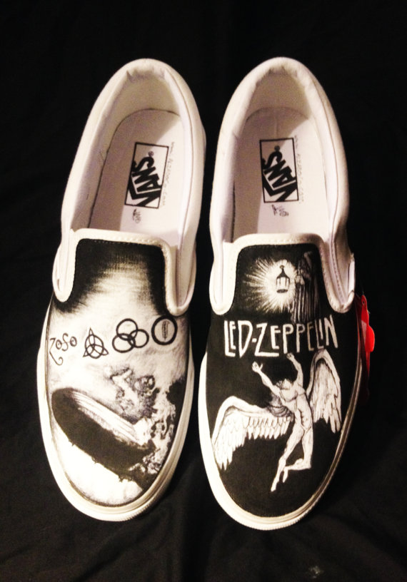Drawn vans canvas shoe On Zeppelin Canvas Shoes Painted