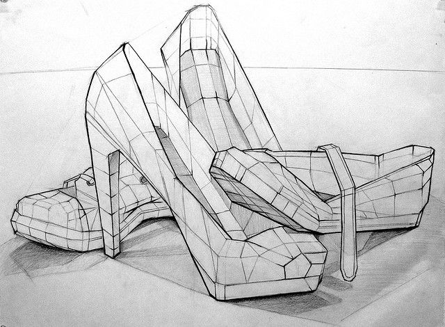 Drawn shoe contour drawing Art shoe contour drawing Pinterest
