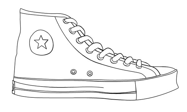 Drawn shoe contour drawing Of Chuck_Taylor_Shoe_Template_by_CryBaby00 36 Draw a