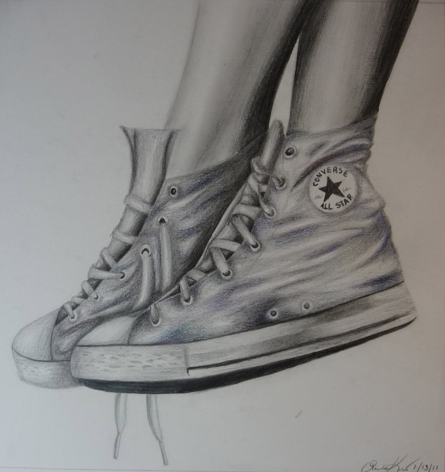 Drawn still life converse Drawing drawing Old Converse RealisticFantasy
