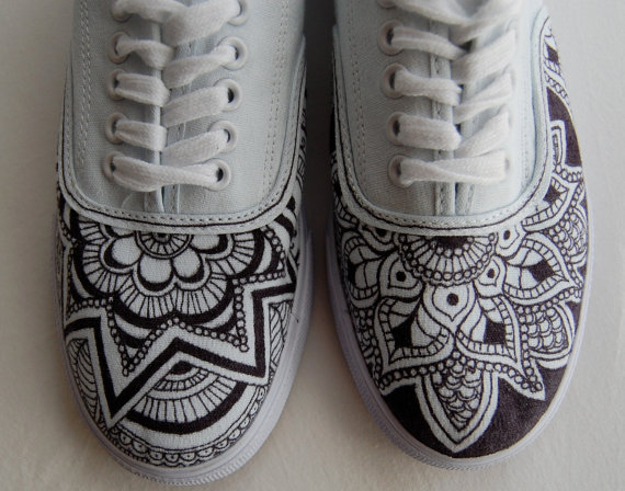 Drawn vans creative Shoes + long Hand black