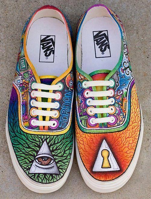Drawn vans custom design About custom psychedelic Vans colorful