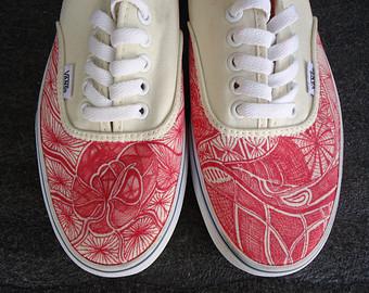 Drawn vans custom design Shoes // VICIT Etsy Heart