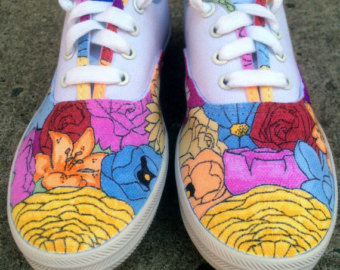 Drawn vans custom drawn Flowers