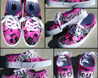 Drawn vans custom made Shoes Handpainted Etsy Vans Custom