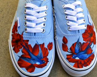 Drawn vans custom made Vans Flower shoes Bird Shoes