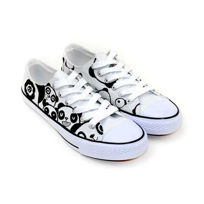 Drawn sneakers cute shoe Painted Panda Series Low New