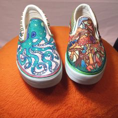 Drawn vans designed Custom and shoes on Octopus
