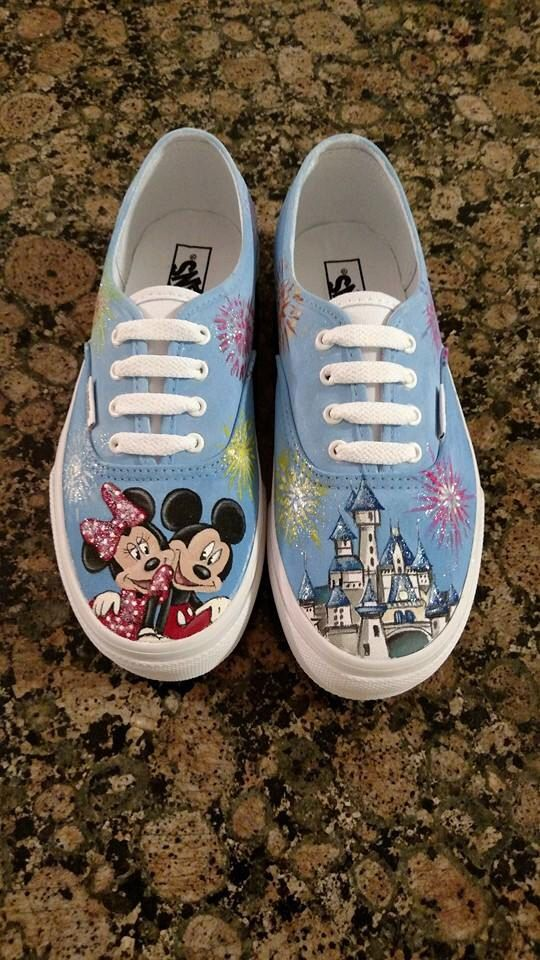 Drawn vans diy Fireworks Disney Hand Hand painted