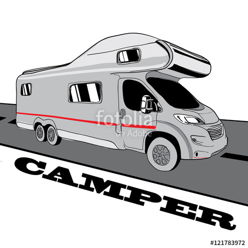 Drawn vans doodle Hand Recreational Caravan Vans Doodle