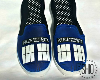 Drawn vans dr who Shoes Bad Painted / Police