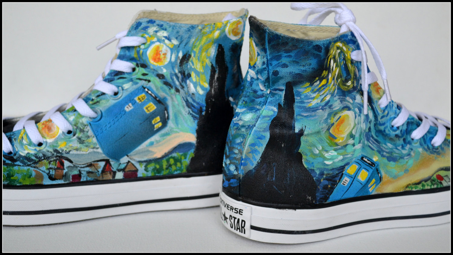 Drawn vans dr who Converse Who converse shoes painted