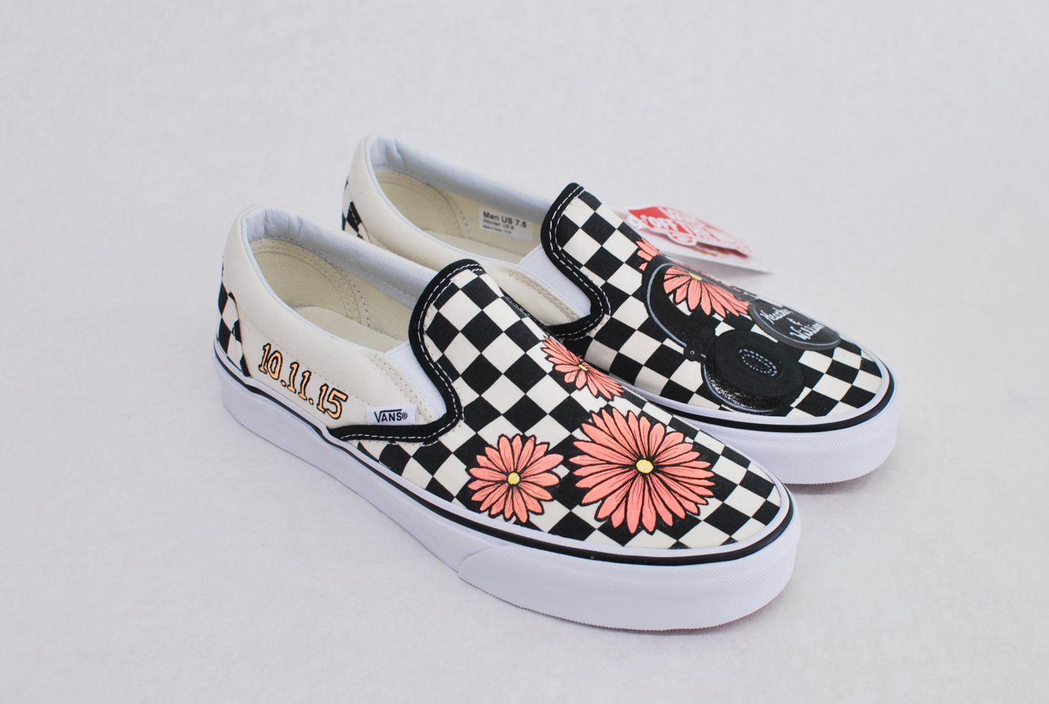 Drawn vans feather Painted Like Feature Custom ons
