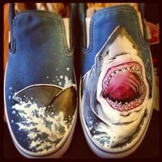 Drawn vans foot Com/geekedoutshoes White Etsy Shark Vans