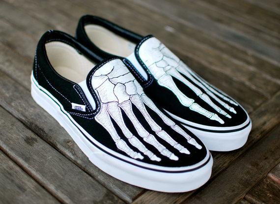 Drawn vans foot Feet Painted Slip Skeleton by