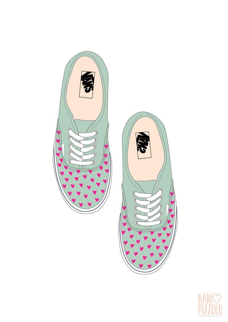 Drawn vans girly #croqui #sketch illustrations best #fashionillustration