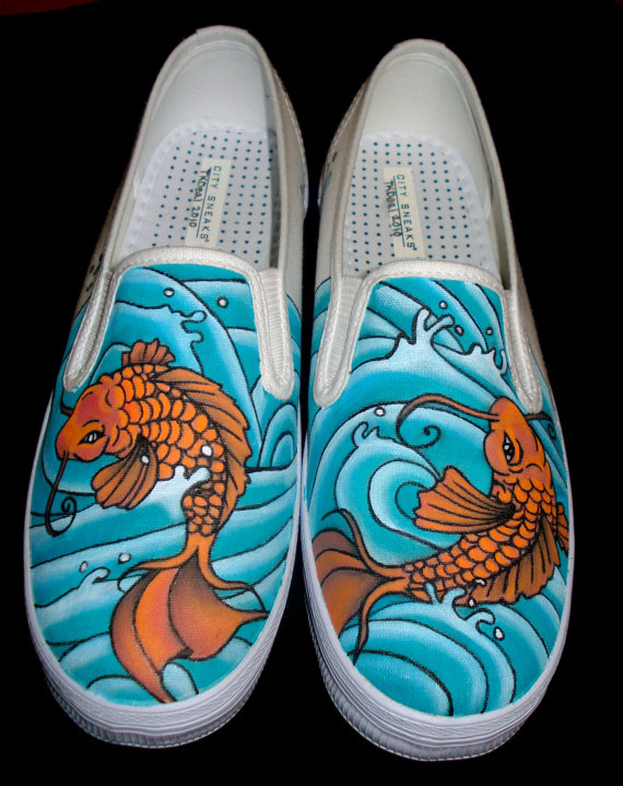 Drawn vans handpainted On Koi Etsy  $145