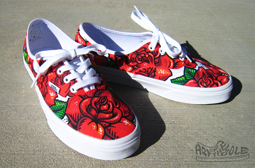 Drawn vans handpainted Hand shoes vans painted rose