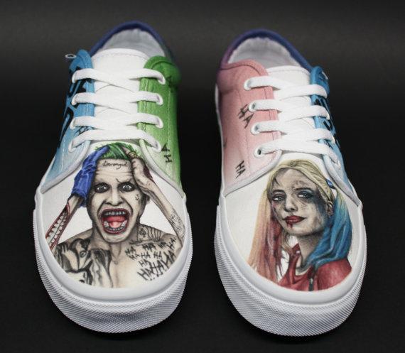 Drawn vans joker Suicide Painted Custom Quinn