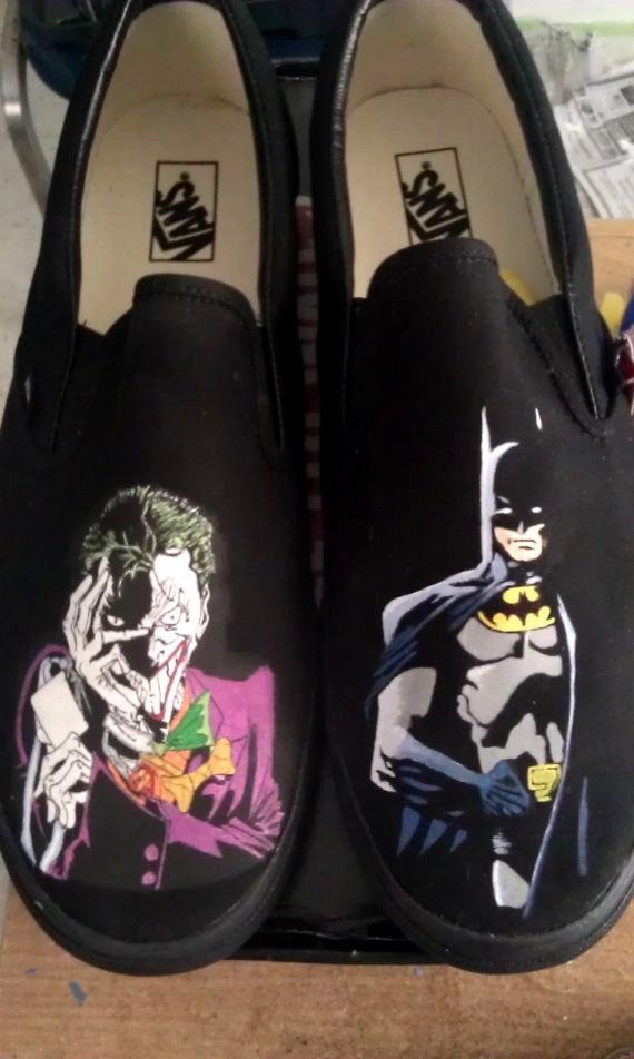 Drawn vans joker Shoes Batman Handpainted Etsy