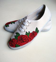 Drawn vans rose Pintado rosas zapatillas / Rose