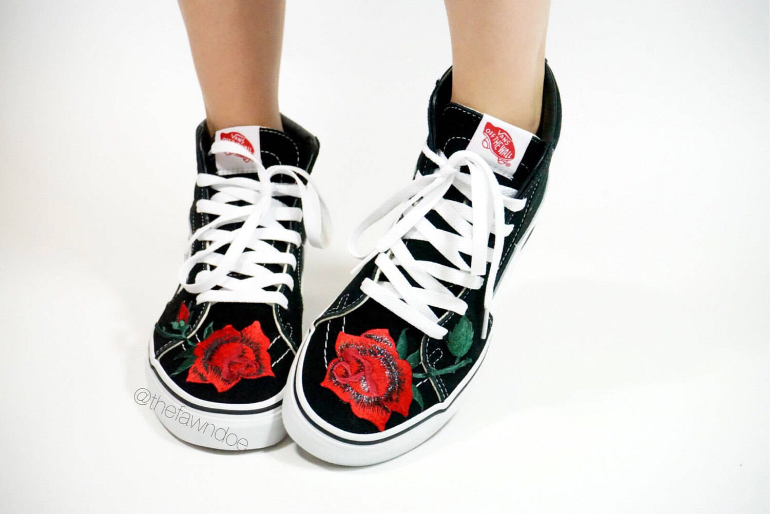 Drawn vans rose Red vans Rose Vans Etsy
