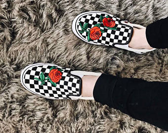 Drawn vans rose Checkered vans Rose Vans shoes