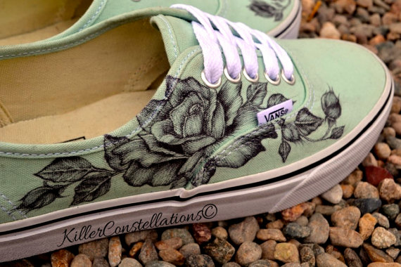 Drawn vans rose Custom Shoes Vans Design Vans