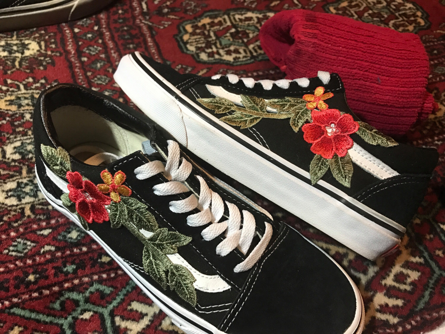 Drawn vans rose Custom Sk8 or Skool vans
