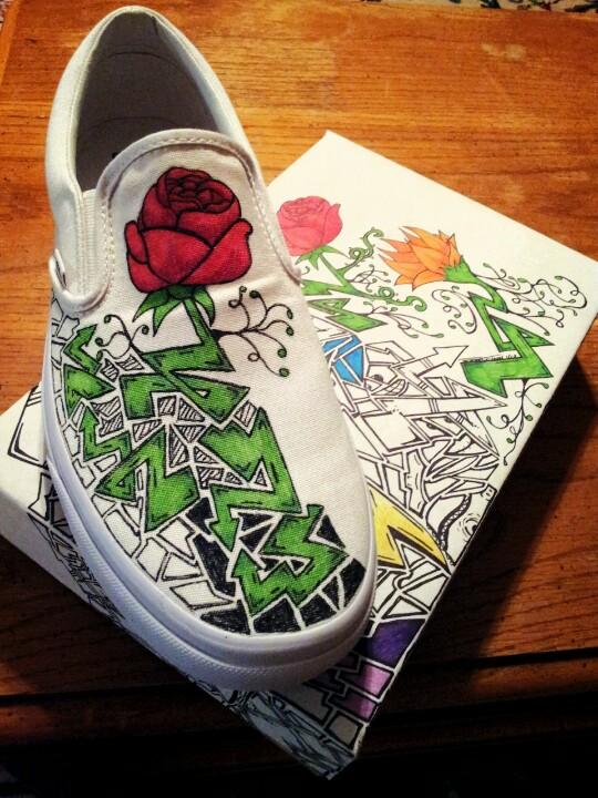 Drawn vans skeleton Shoes pair on a