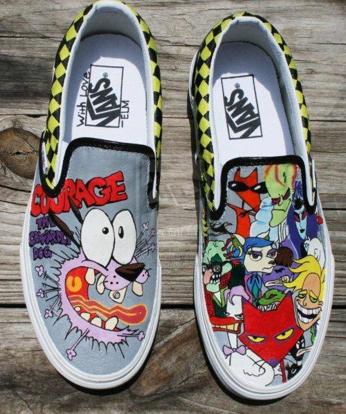 Drawn sneakers white van Dog hand Dog The Cowardly