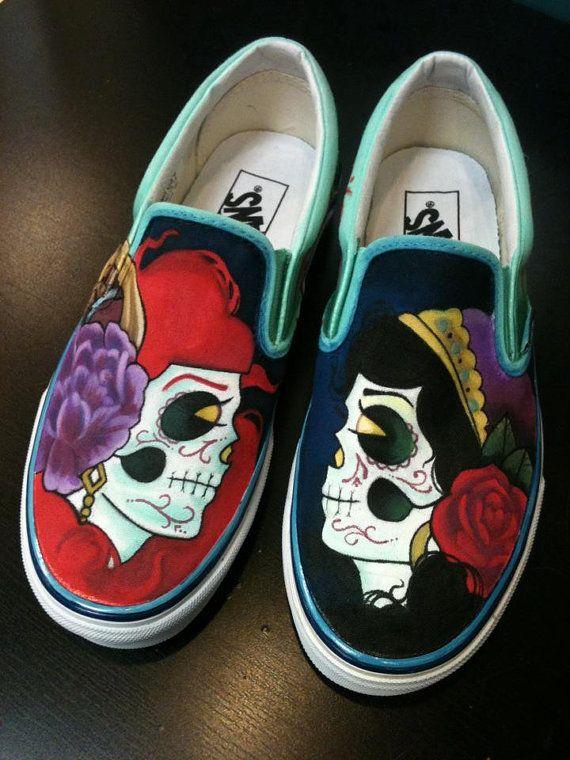 Drawn vans skeleton 15 images Etsy Custom TheCandyJarSneakers