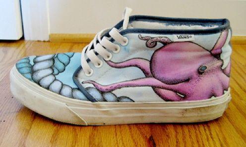 Drawn vans spray Vans Painted Custom DIY Project: