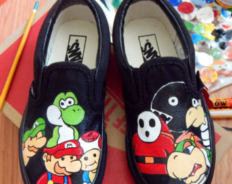Drawn vans super mario On Gang Oakland Hand Painted
