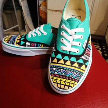 Drawn vans tribal pattern Etsy on on Products Wanelo