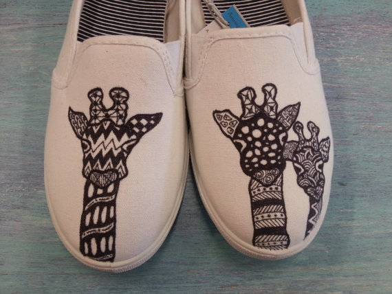 Drawn sneakers cute shoe (Slip Giraffe Hand Canvas Vans