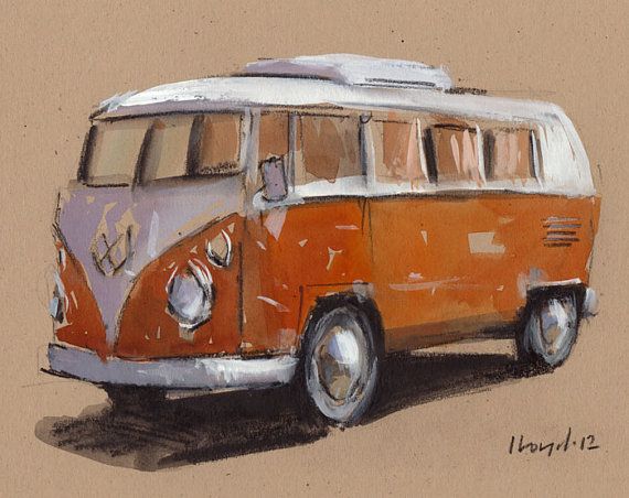 Drawn vans watercolor Auto Line Sketch Retro Bus