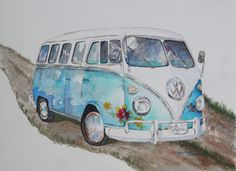 Drawn vans watercolor Hippie Painting Retro VW Original