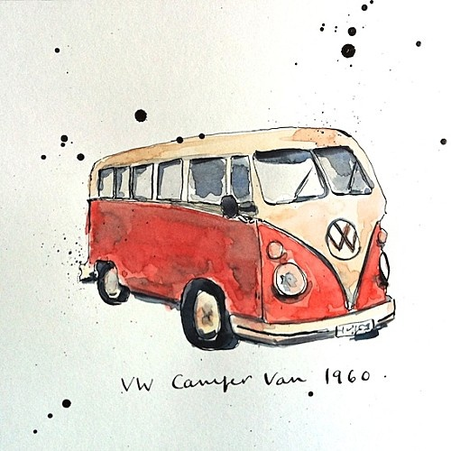Drawn vans watercolor On volkswagen Pinterest van Old