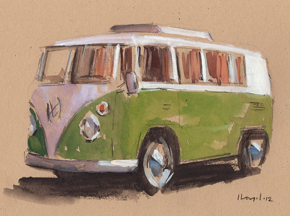 Drawn vans watercolor Line Sketch Kombi and Drawing